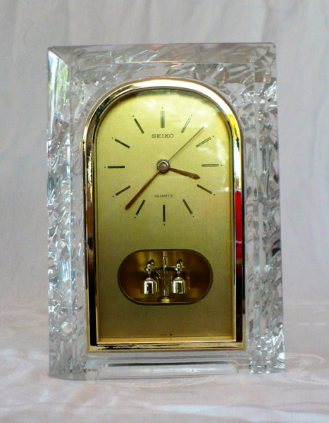 Seiko Mantel Clock Lead Crystal Rotating by RescuedObjects on Etsy