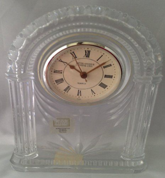 Crystal Mantle Clock By Fifth Avenue Crystal