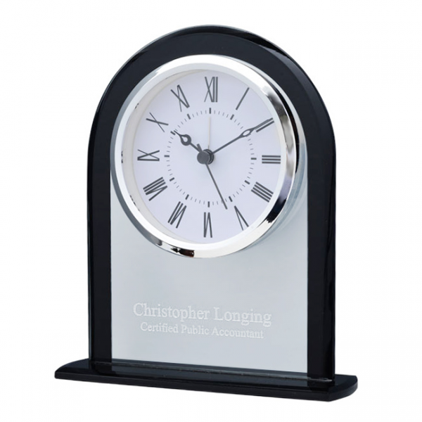 ... Goods > Clocks > Personalized Clear & Black Crystal Dome Desk Clock