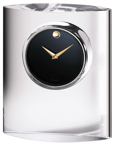 Movado Museum Dial in Ovoid Crystal Stand Desk Clock MCL-200-M