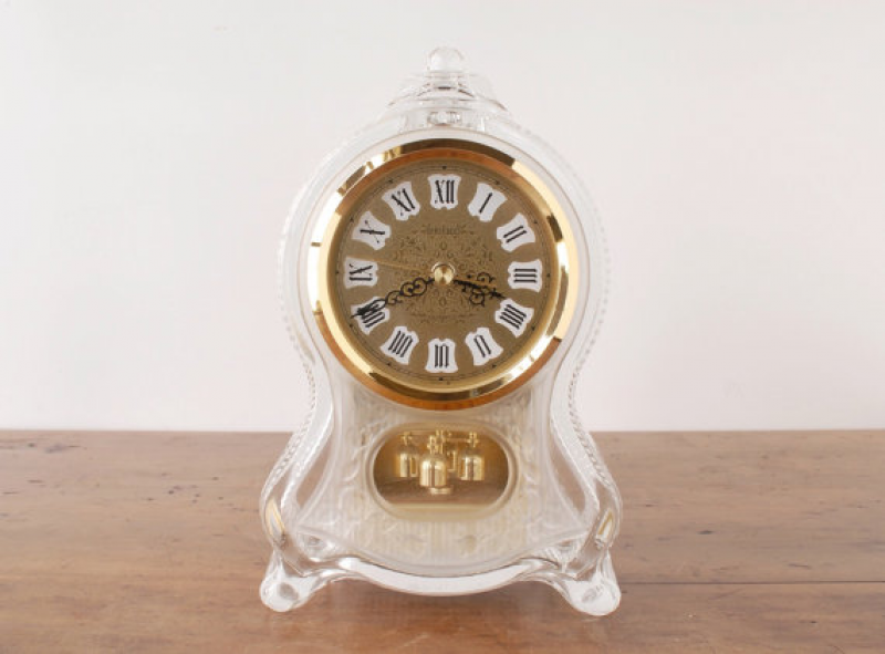 Vintage Seiko crystal glass clock, 1970s Japanese table clock ...