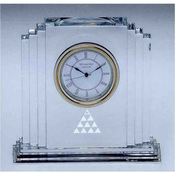 Desk clock. Lead crystal desk clock with roman numerals and second ...