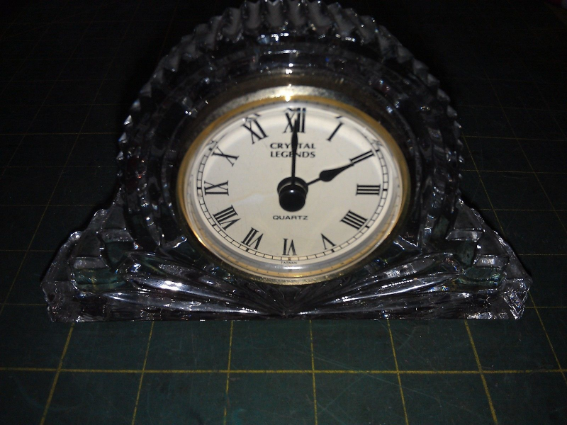 ... CRYSTAL LEGENDS BY GODINGER DESK CLOCK, MADE IN TAIWAN, LEAD CRYSTAL