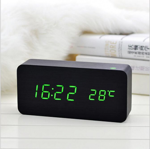 wooden Board alarm clock+Temperature thermometer digital table clock ...