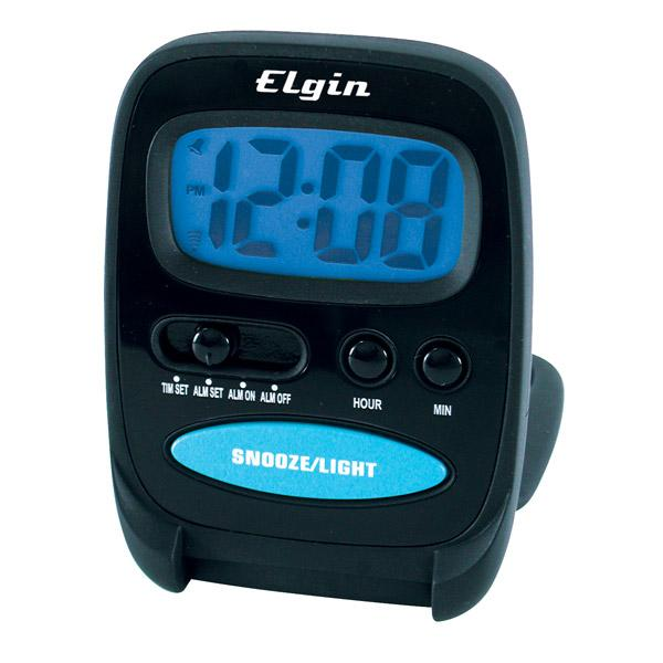Elgin Small Digital Travel Alarm Clock 0 7 Black Simpleto Use Free US ...