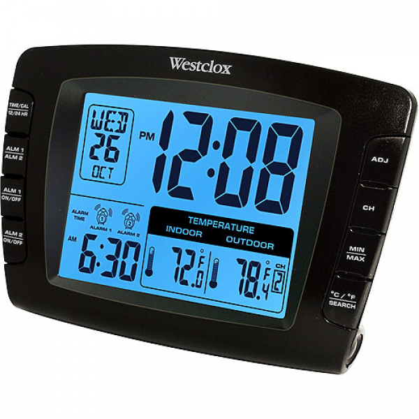 Westclox Indoor/Outdoor Temperature Digital Alarm Clock: Decor ...