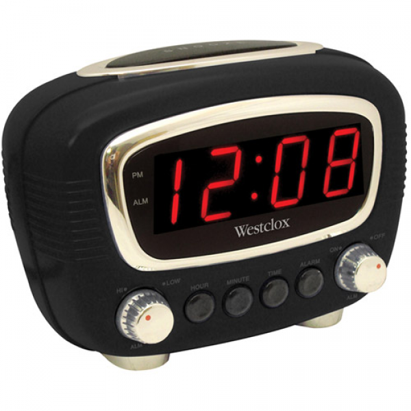 ... clock black westclox 0 9 retro led alarm clock black large 0 9 red