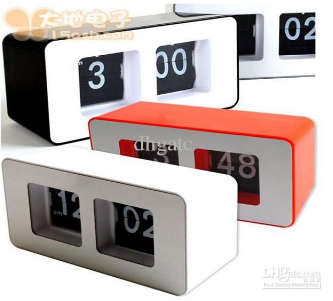 Novelty Retro Auto Flip Desk Digital Alarm Clock Fashion ABS Material ...