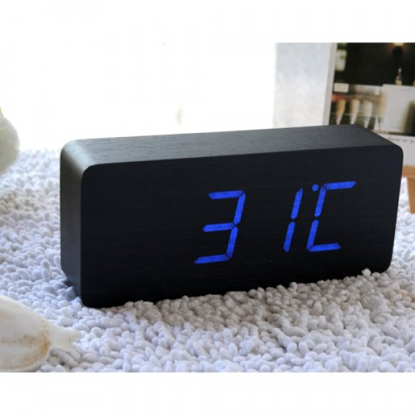 EiioX Rectangular Wooden Digital Alarm Clock Blue LED Black Skin