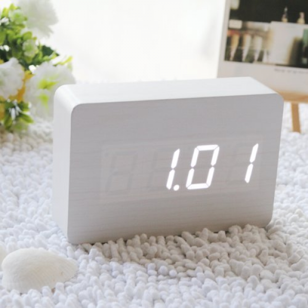 ... Wooden Clock Digital Imitation Wood Alarm Desktop Time Thermometer