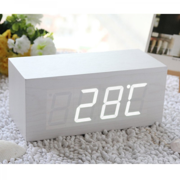 White Mini Wooden Clock White LED Digital Imitation Wood Alarm Clock ...