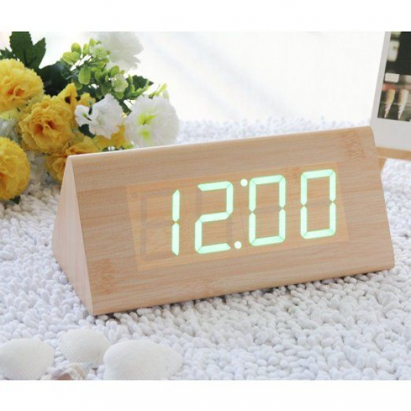 ... Alarm Clock Digital Wood Alarm Clock Desktop- Time Temperature Date