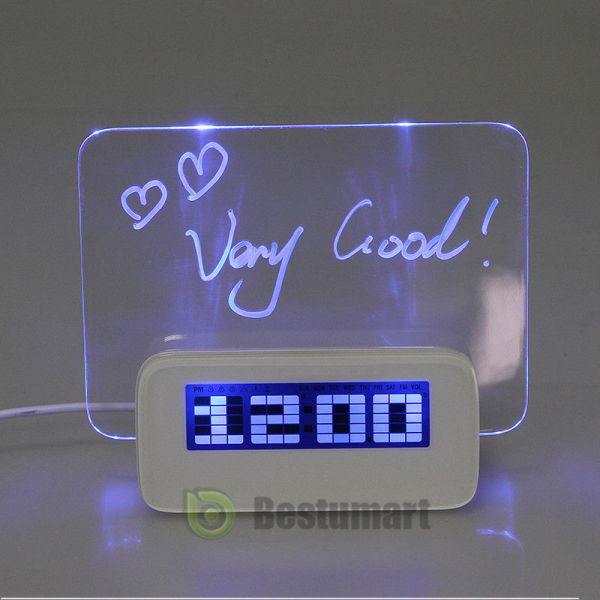 ... Fluorescent Message Board Creative USB LED Light Alarm Clock | eBay