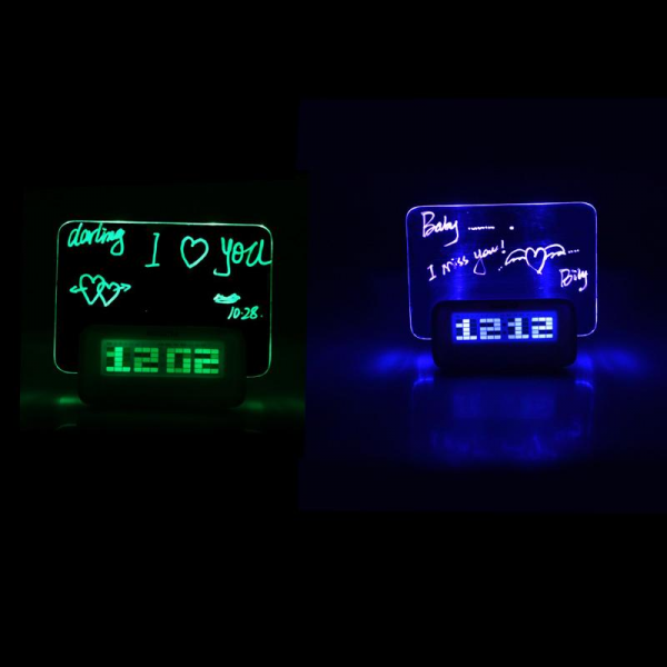 Led Digital Message Board Clock Alarm Temperature Calendar Timer Blue ...