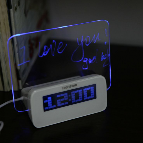 LED Digital Fluorescent Message Board Clock Alarm Temperature Calenda ...