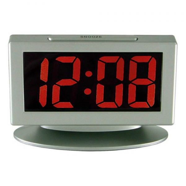 Advance Time Technology 1.8 LED Alarm Clock With Red Display, Gray