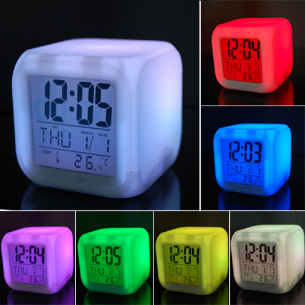 LED Colour Changing Digital Alarm Clock Thermometer Date Time Night ...