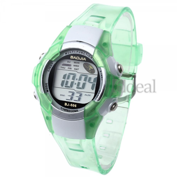 New LED Digital Alarm Clock Sport Children Boy Girl Watch Green Band ...