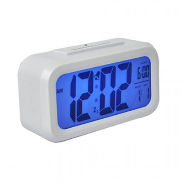 LCD Digital Snooze Alarm Clock with Blue LED Backlight - White