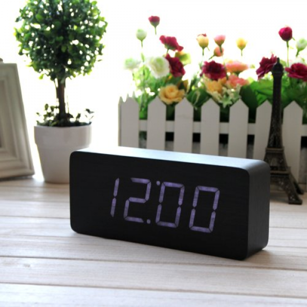 EiioX Fashionable Wood Grain LED Alarm Clock - Time Temperature Date ...