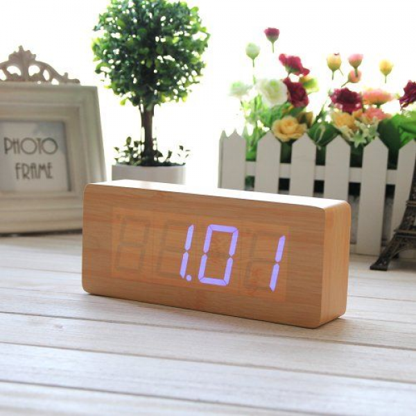 EiioX Bamboo Wood Grain Blue LED Alarm Clock- Time Temperature Date ...