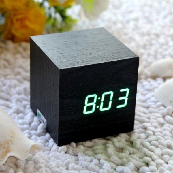 EiioX Cube Mini Green LED Black Skin Wooden Alarm Clock With ...
