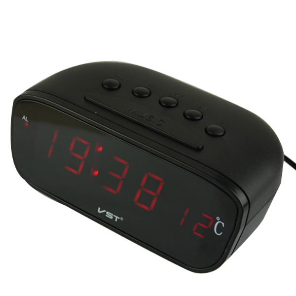 ... Auto Car Red LED Thermometer Display Digital Alarm Clock Large Screen