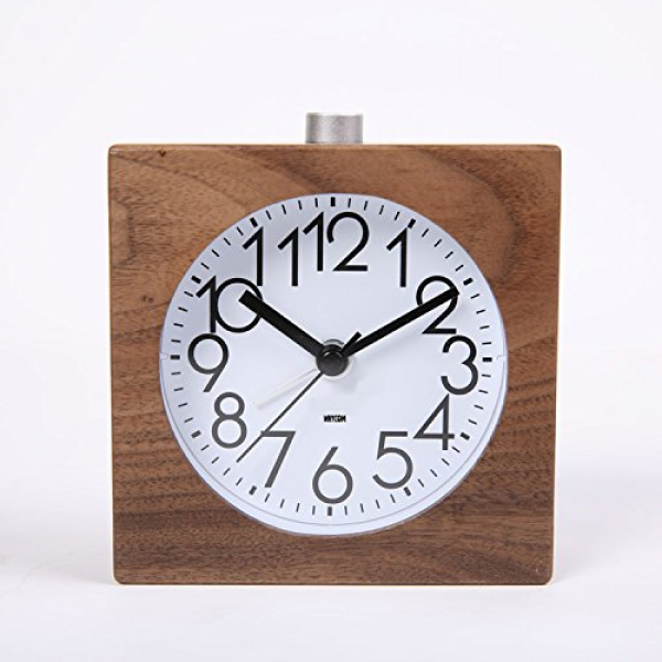 ... Snoose Small Wood Alarm Clock with Nightlight (Black Walnut Wooden