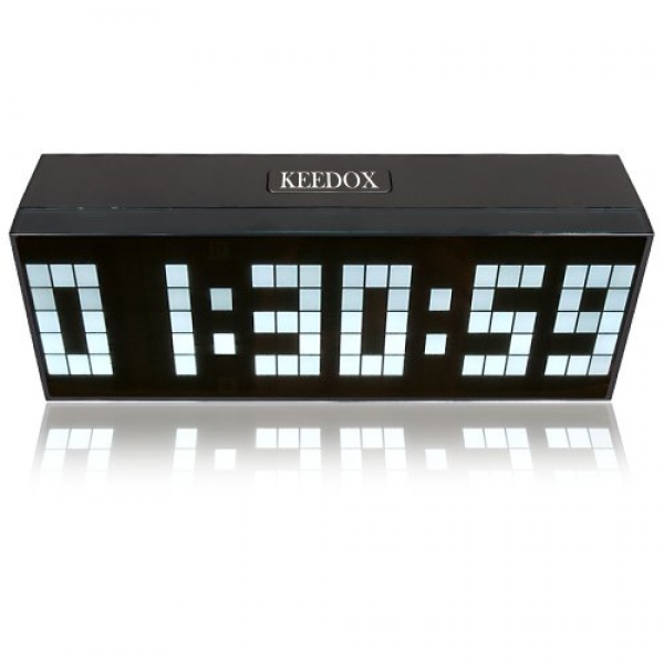 ... Clock with Indoor Temperature Silver Alarm Clock Snooze Battery