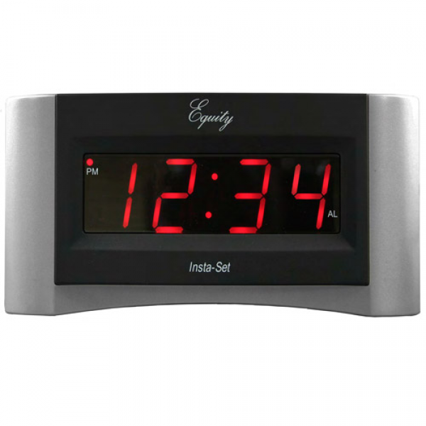 Equity by La Crosse Insta-Set Digital Alarm Clock with Red LCD, Silver ...