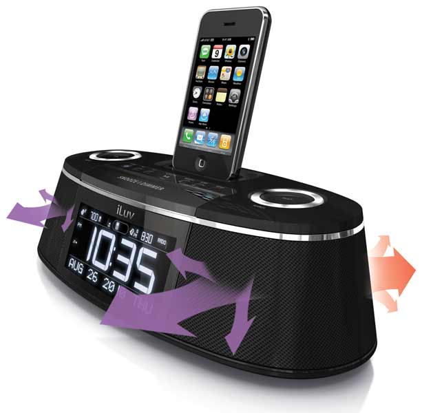 iLuv IMM178 Vibe Plus Dual Alarm Clock with Bed Shaker for iPod and ...