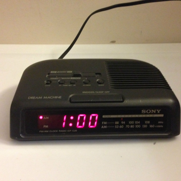 Vintage Sony Am FM Alarm Clock Dream Machine Radio ICF C25 Black Red ...