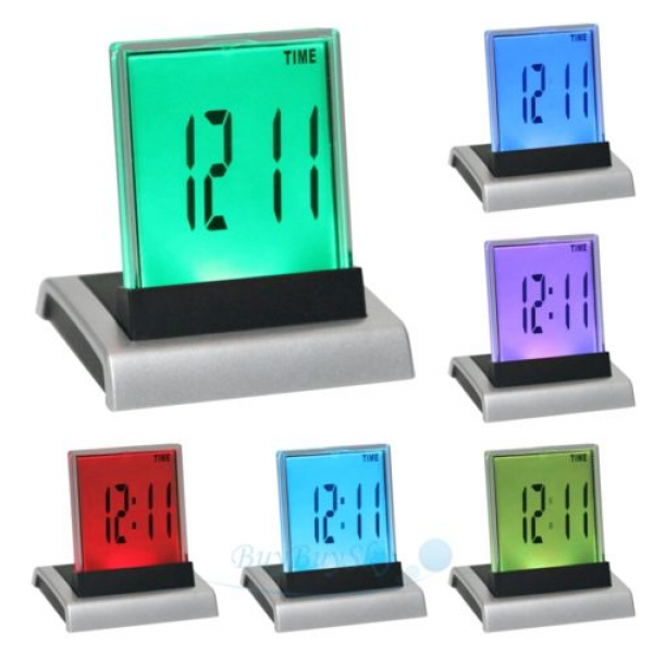 LCD 7 Color Change Digital Alarm Clock Thermometer | eBay