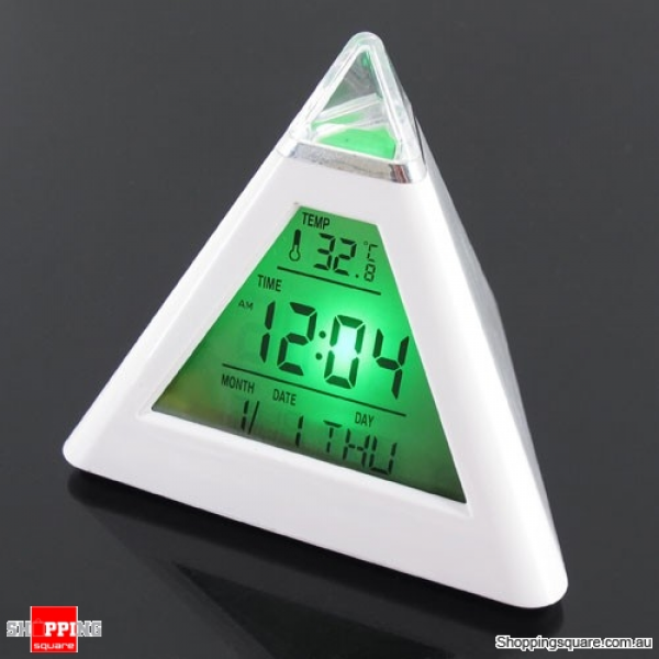 LED Color Pyramid Digital LCD Alarm Clock Thermometer ( Code: (DS ...