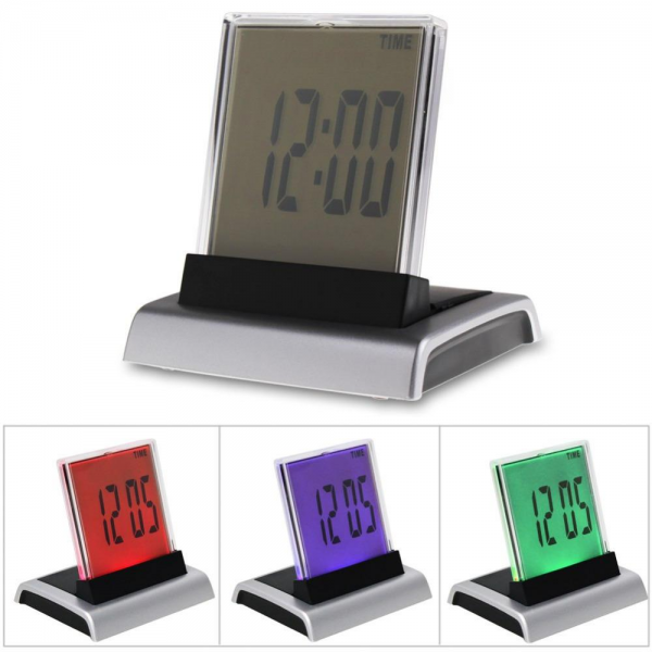 New 7 LED Color Changing Digital LCD Alarm Clock Thermometer Calendar ...