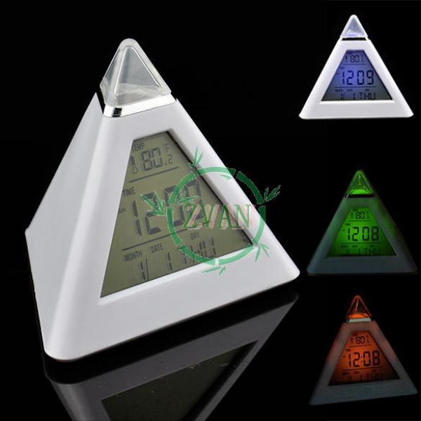 3Pcs/Lot 7 LED Color Triangle Pyramid Desk Digital LCD Alarm Clock ...