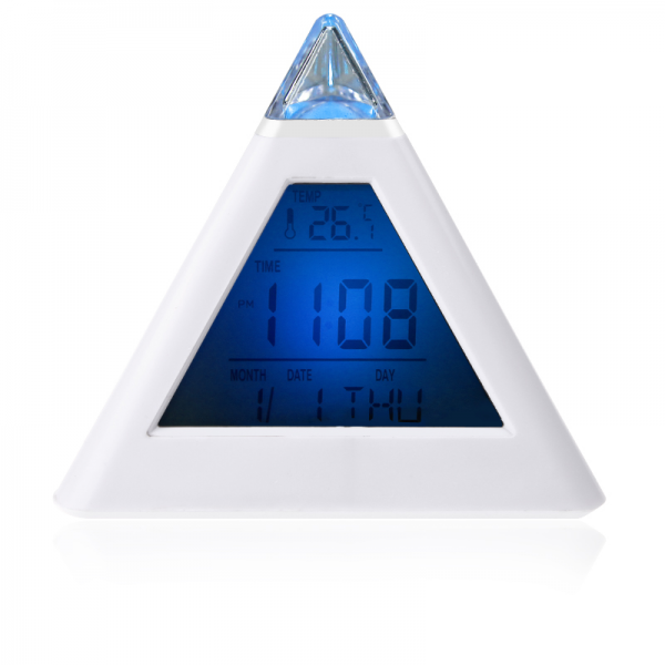 New 7 LED Changing Color Pyramid Digital LCD Alarm Desk Clock ...