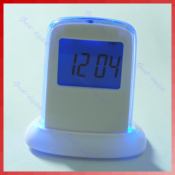 Details about 7 LED Color Change Digital LCD Alarm Clock Thermometer