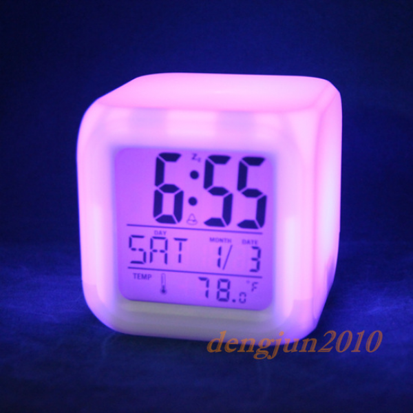 LED Color Change LCD Digital Alarm Thermometer Clock Night Light ...