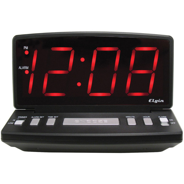 Elgin Electric Alarm Clock - Large Display and Dimmer Switch