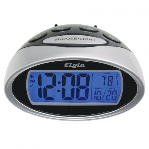 Elgin Battery Powered LCD Alarm Clock with Nap Timer 3408E – Silver