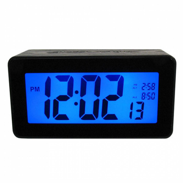 Big Display Touch Activated 2 Blue LCD Alarm Clock