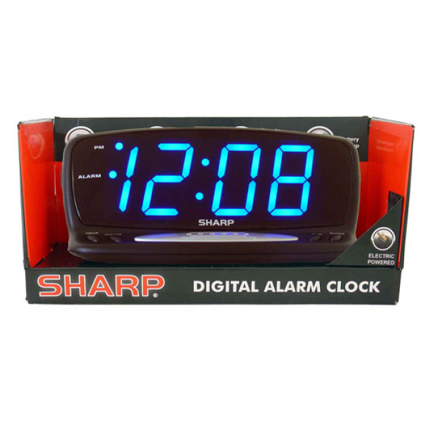 Sharp Blue Jumbo LED Alarm Clock, Black - Walmart.com