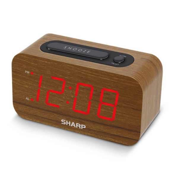 Sharp 1.2 Red LED Woodgrain Alarm Clock - Walmart.com