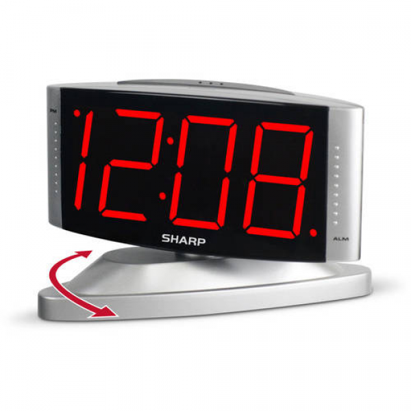 Sharp Red LED Swivel Alarm Clock, Silver - Walmart.com