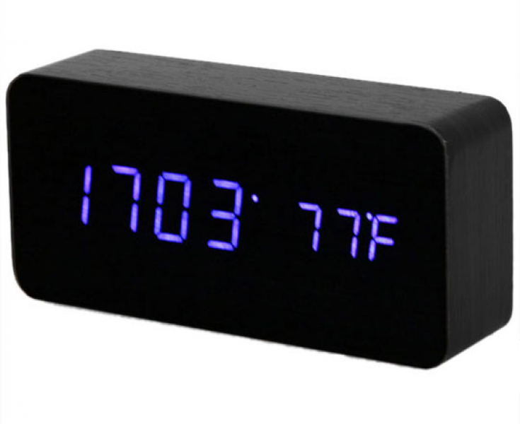 Blue LED Alarm Clock with Temperature Display at MidnightBox