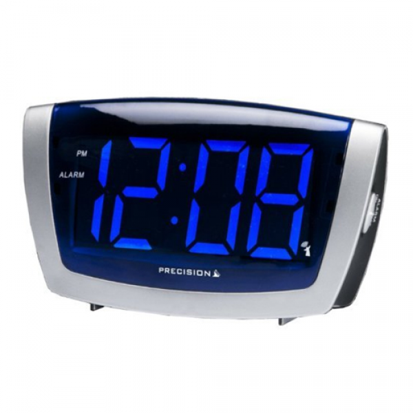 ... Radio Controlled Big Digit LED Alarm Clock With Blue Display PREC0072