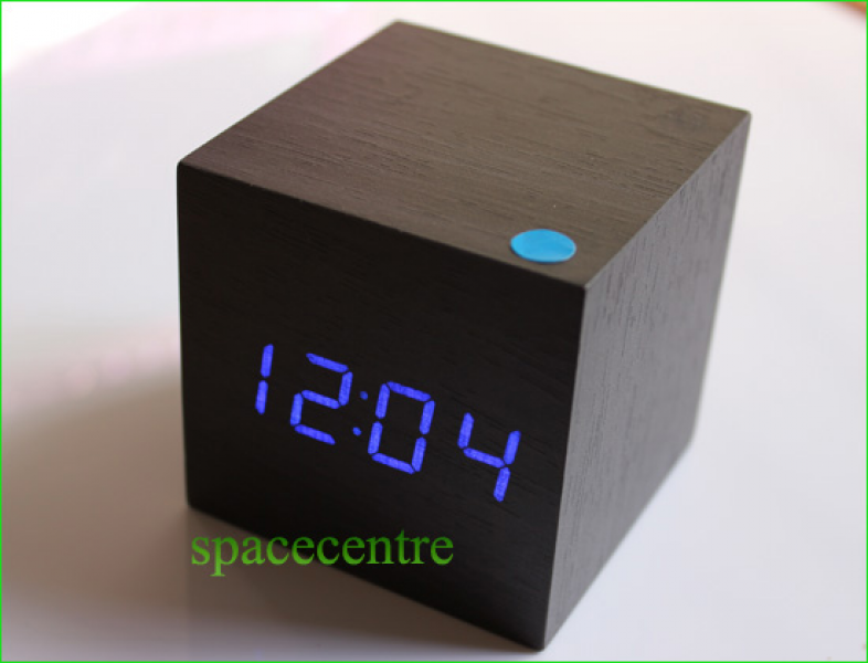Blue Led Display Wooden Clock Alarm Clock Office Desk Clock Gift Mini ...