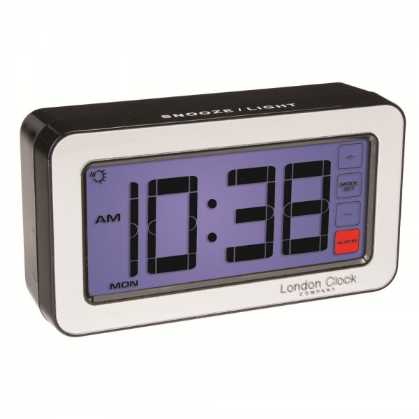 London Clock Co Black Touch Screen Led Digital Alarm Clock