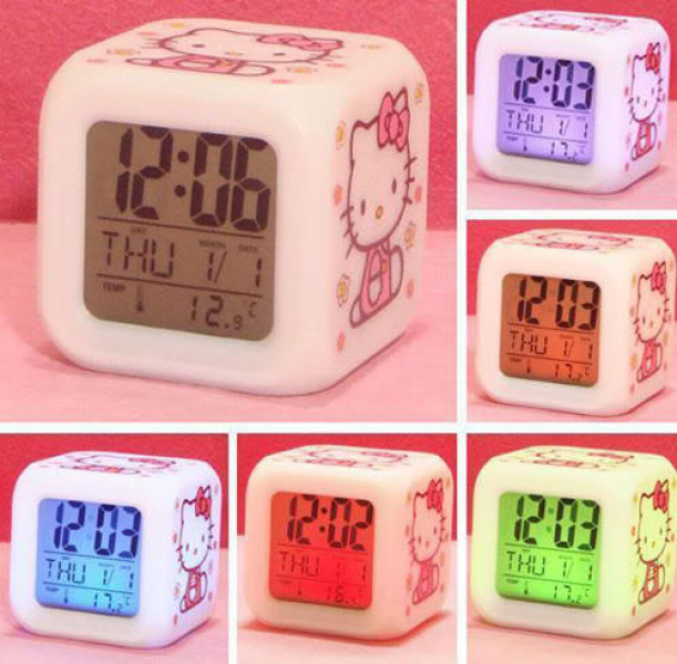 ... this is new hello kitty color changeable alarm clock each hello kitty